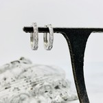 Sterling Silver and CZ Huggie Hoop Earrings
