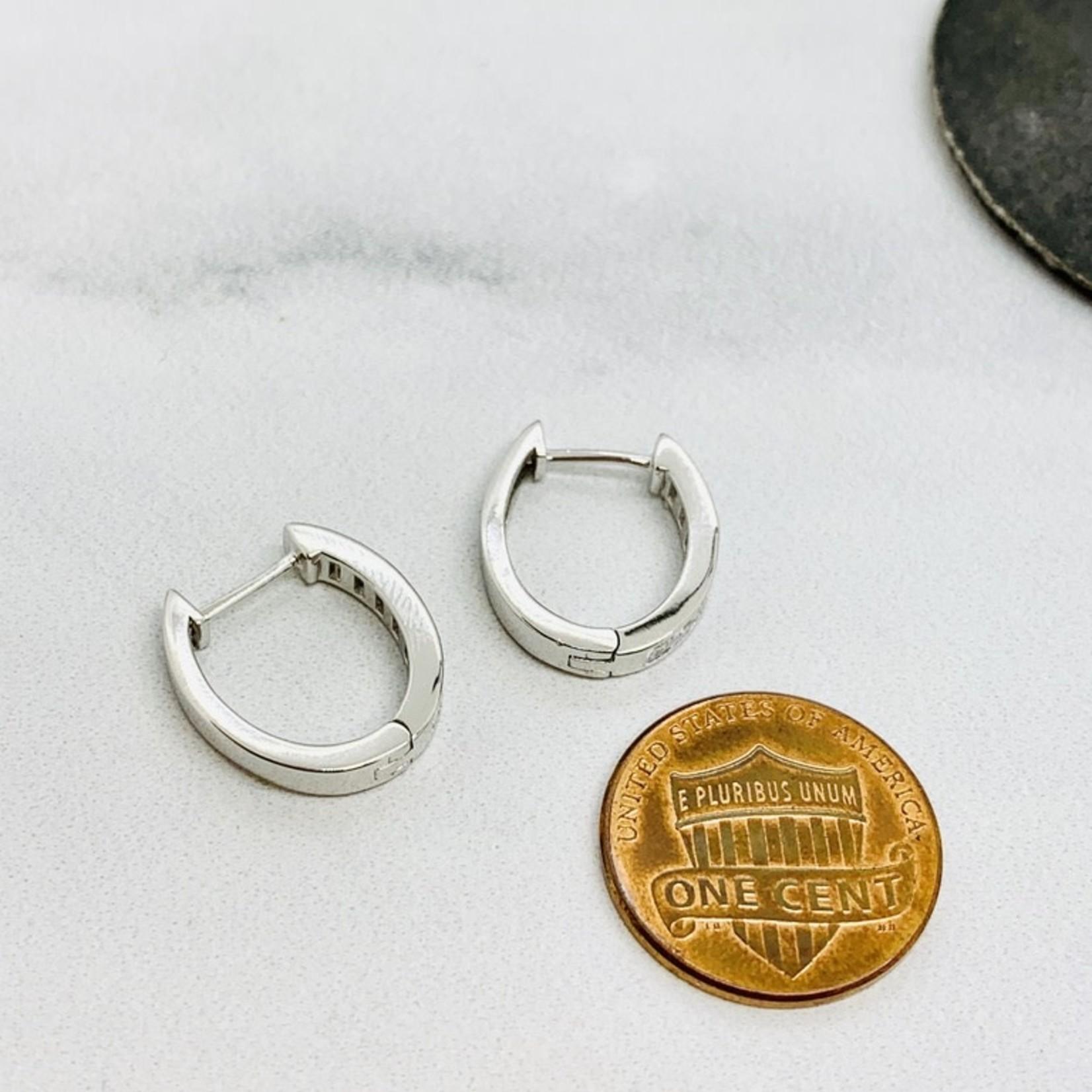 Sterling Silver and CZ Huggie Hoop Earrings