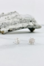 Sunburst Stud Earrings with CZ, SS