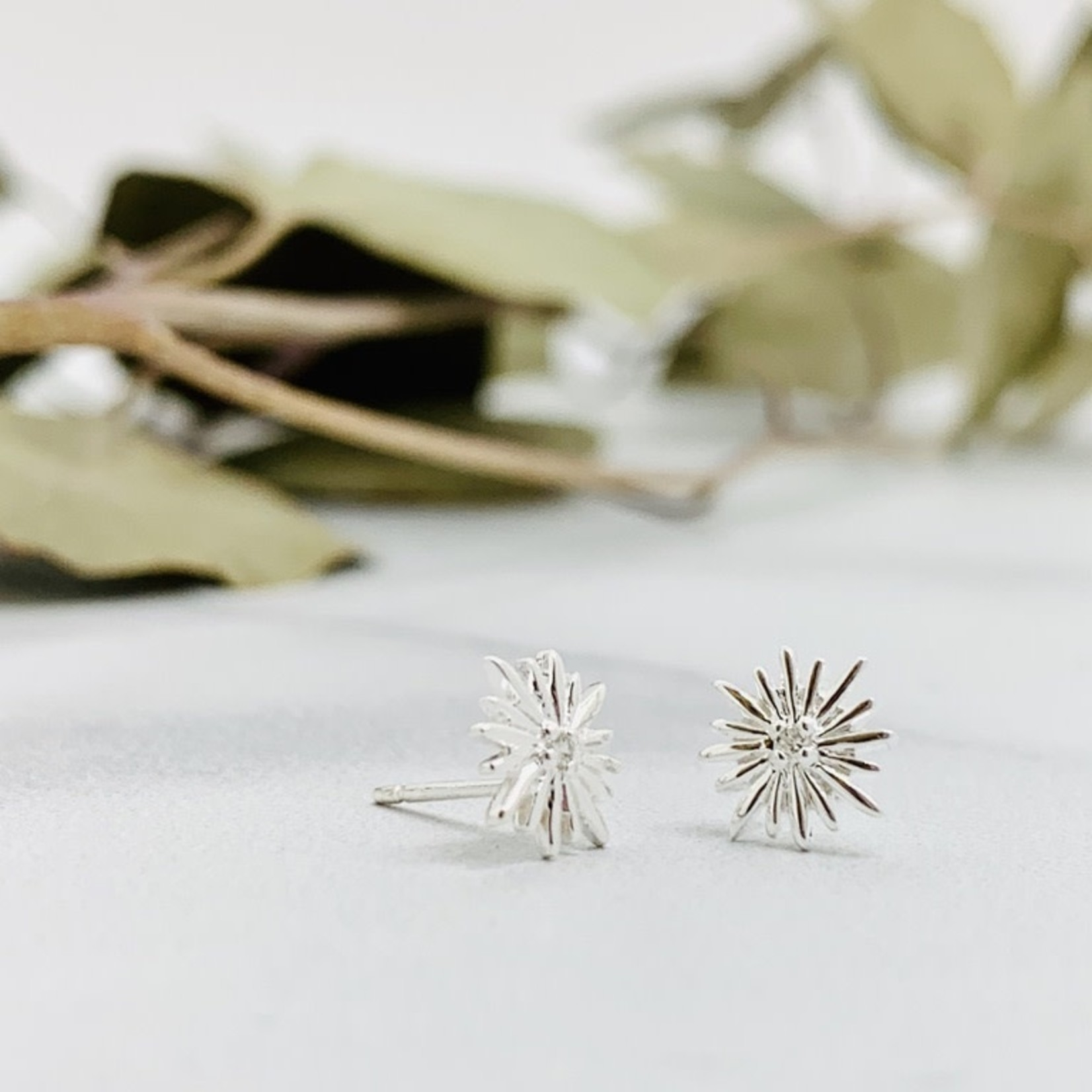Sunburst Stud Earrings with CZ, SS