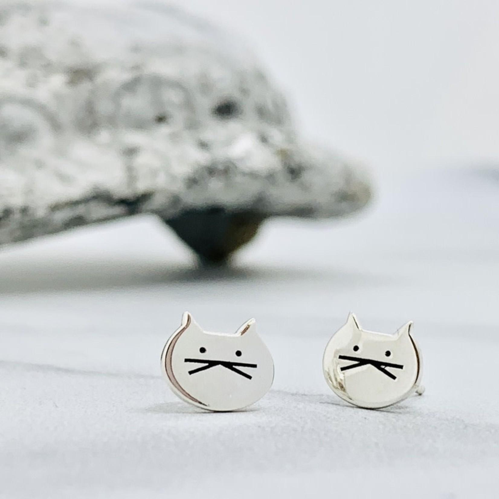 Cute Cat Stud Earrings, Sterling Silver