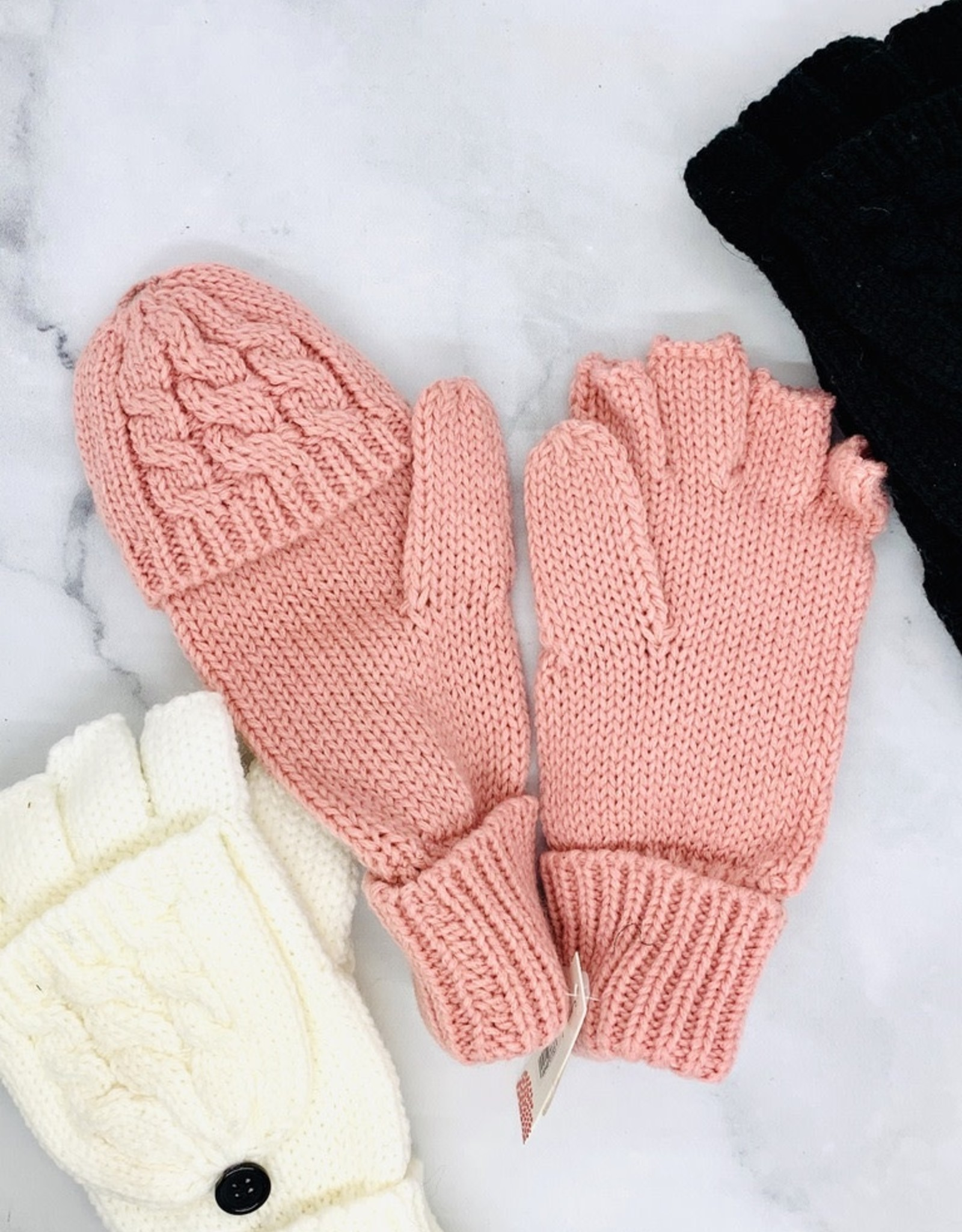 Tickled Pink Cableknit Mittens