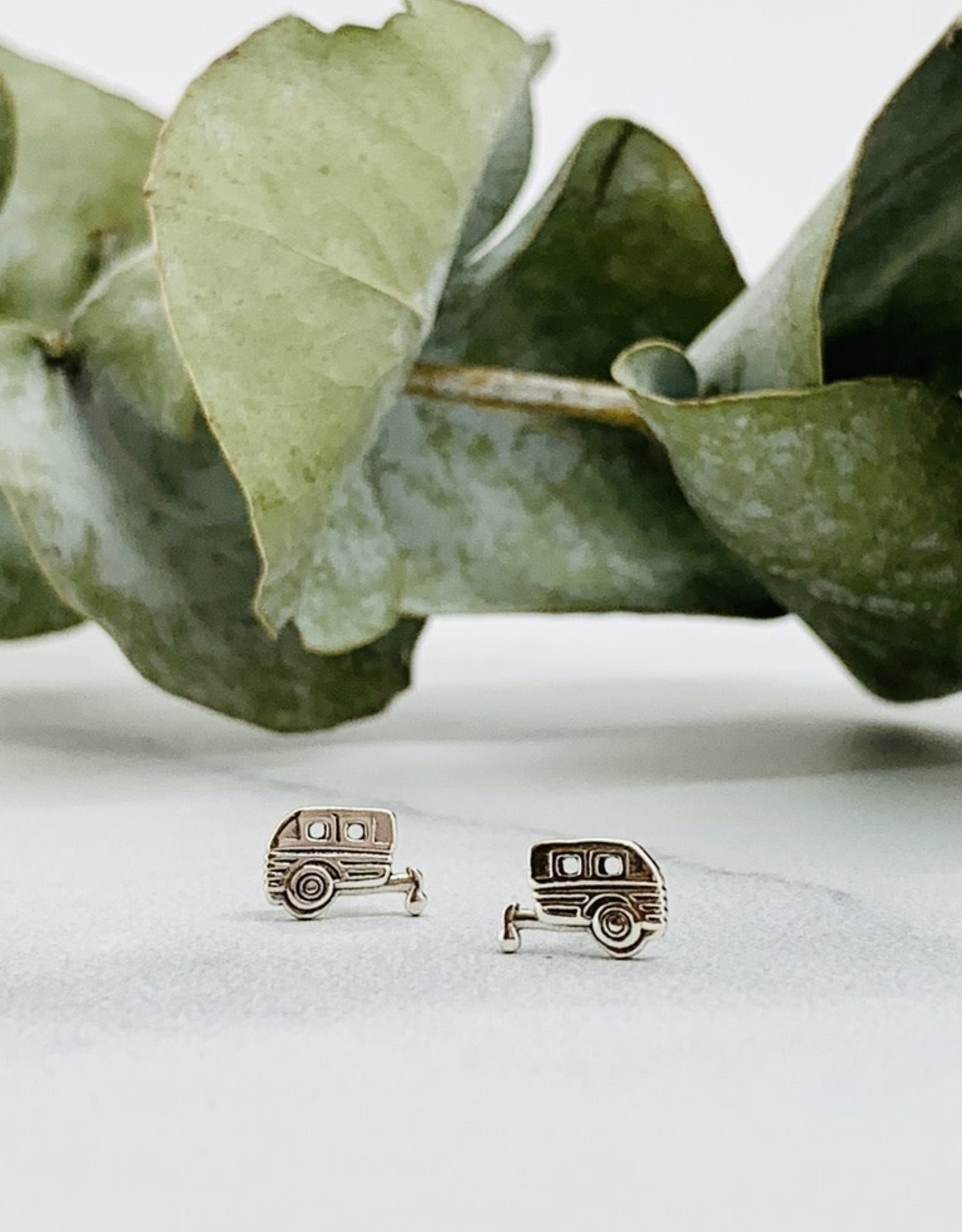 Camper Stud Earrings, silver
