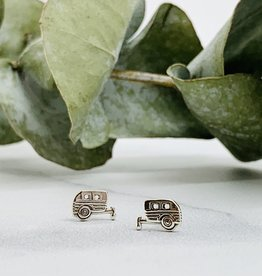 Camper Stud Earrings, silver