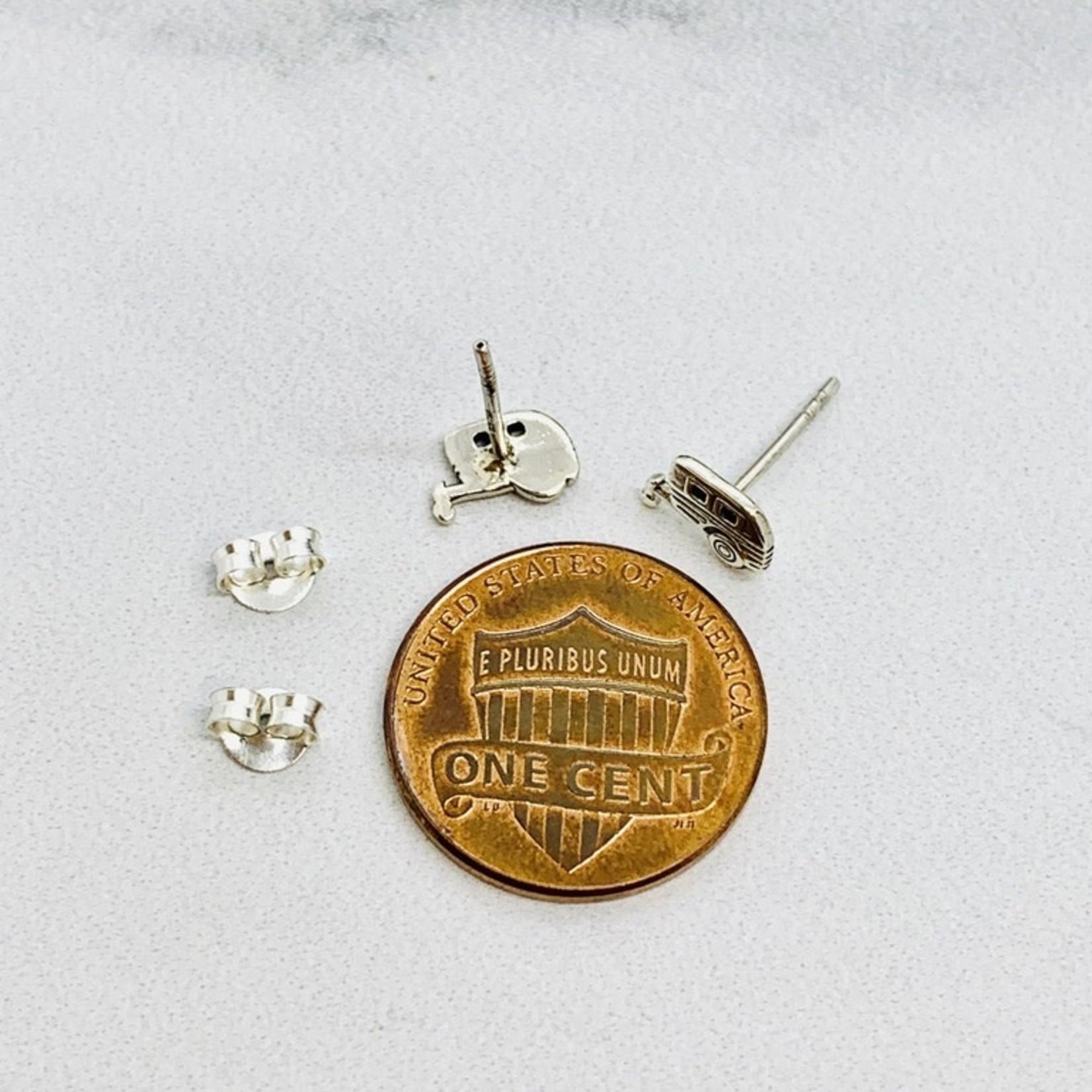 Camper Stud Earrings, Sterling Silver