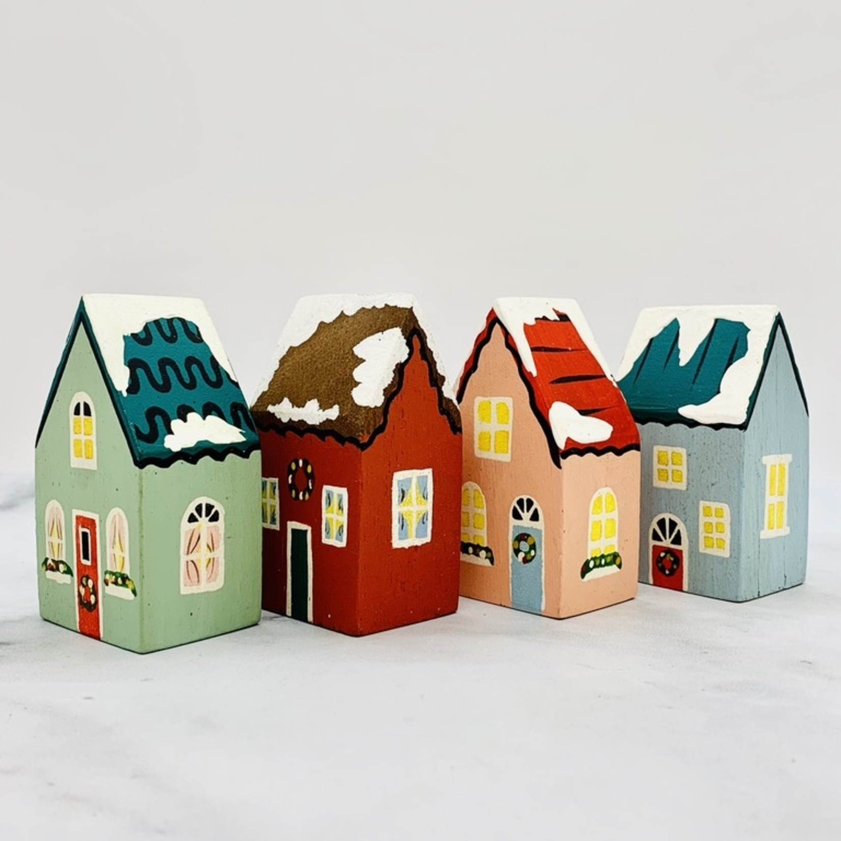 """2-1/2"""" x 3-3/4"""" Mini Painted Holiday Houses"""