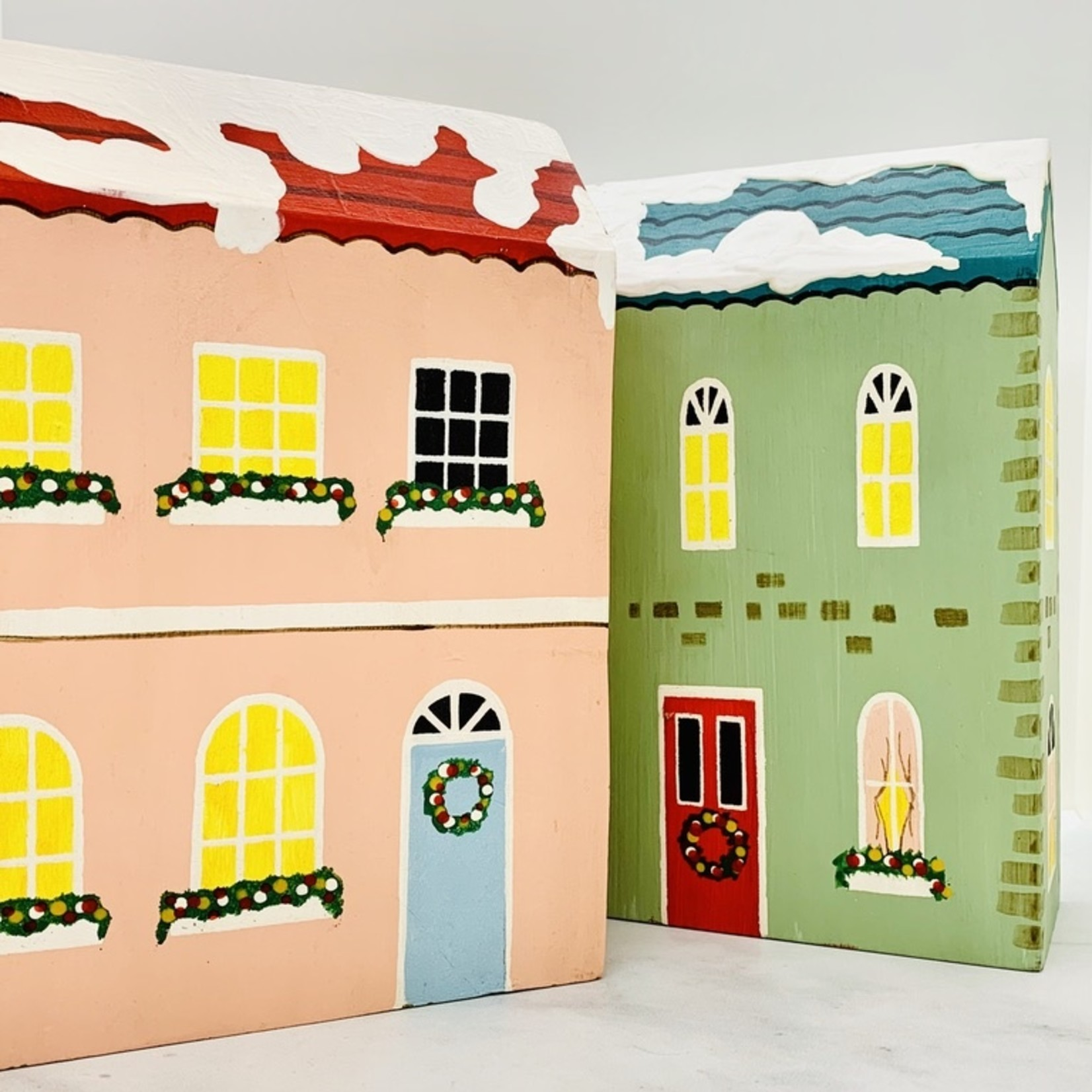 "7"" x 9""H Painted Wood Holiday Houses"