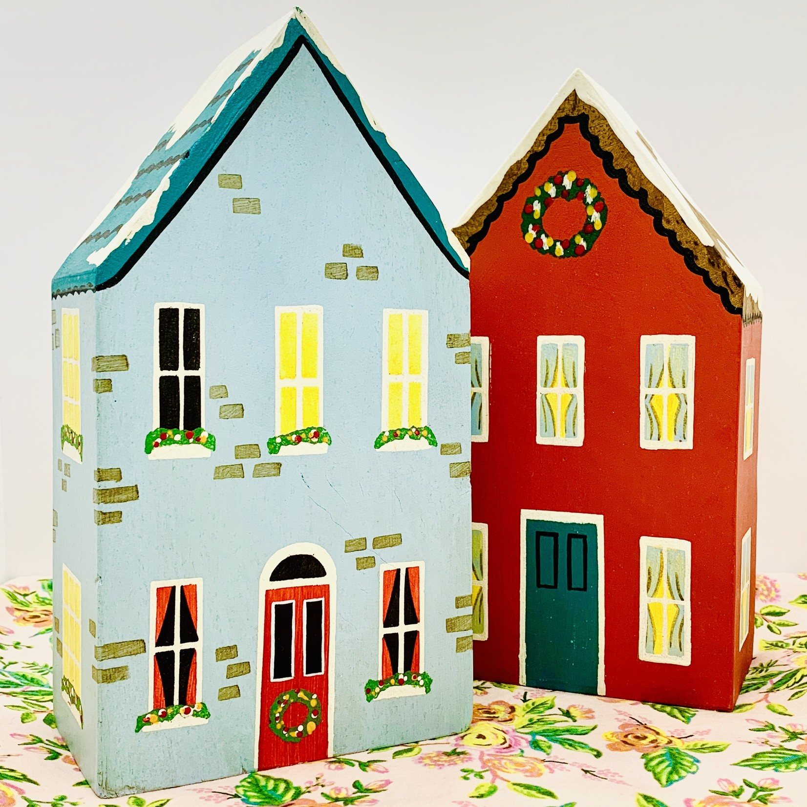 """5"""" x 9""""H Painted Wood Holiday Houses"""