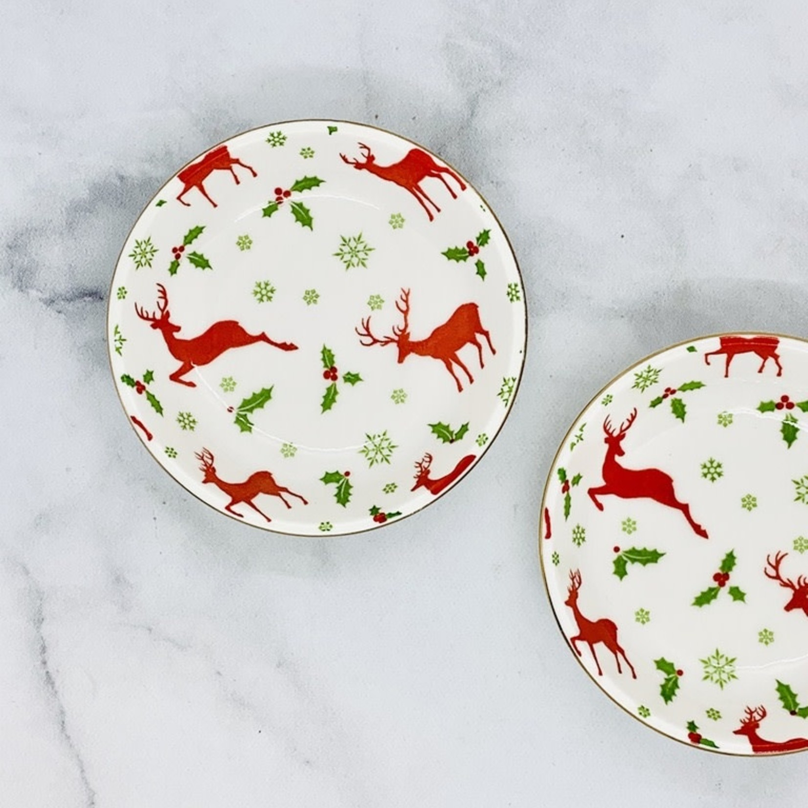 "3-3/4"" Round Stoneware Dish w/ Deer"