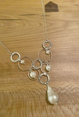 Locally Handmade Necklace with Sterling Silver Rings and Pearls