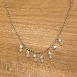 Handmade Necklace with rainbow moonstone and faceted silver
