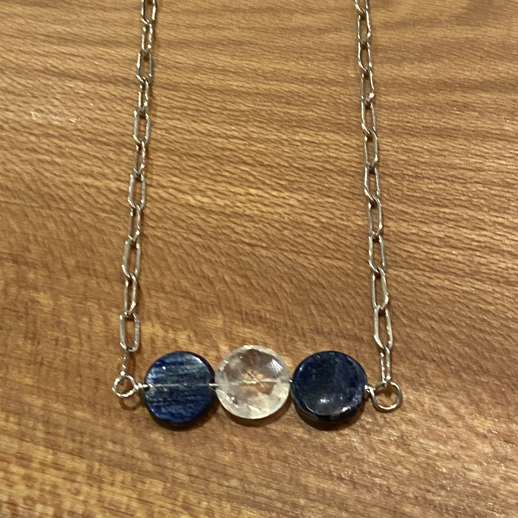 Handmade Necklace with rainbow moonstone and kyanite coins
