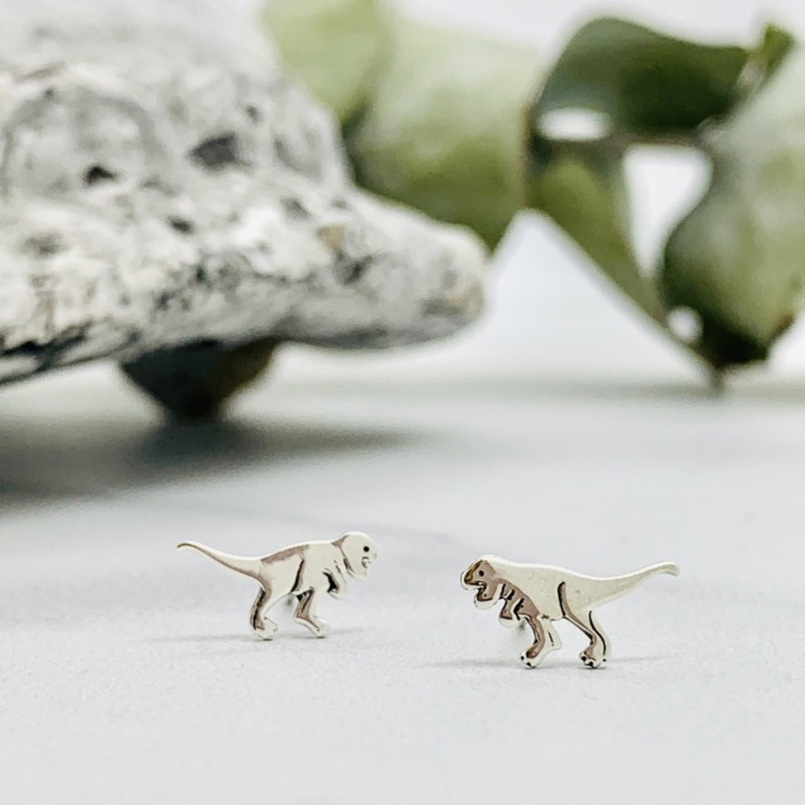 Sterling Silver T Rex Stud Earrings