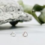 Open Heart Stud Earrings, Sterling Silver