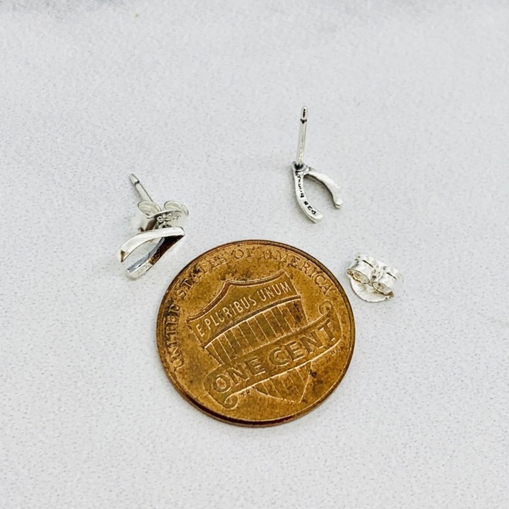 Wishbone Stud Earrings, Sterling Silver