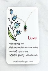 Handmade Silver Necklace with love gemstones
