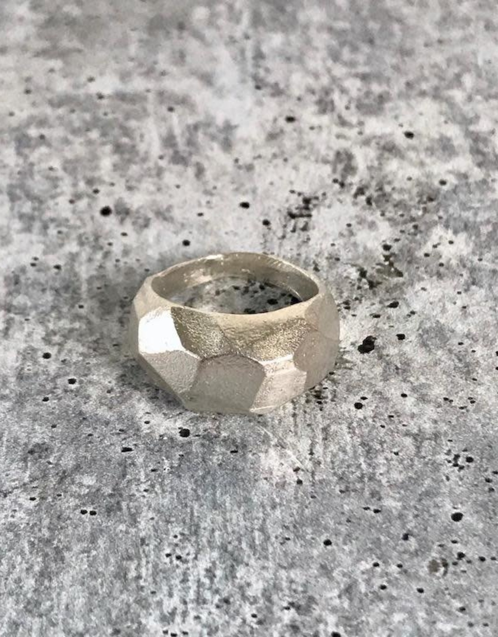 Handmade Large Solid Sterling Silver Chunky Faceted Ring