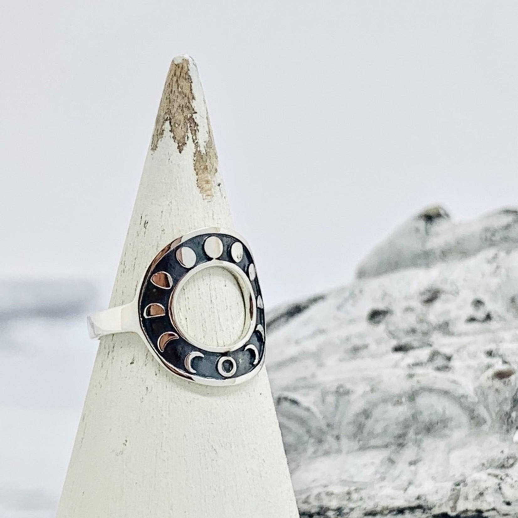 Nina Designs Silver Circle Moon Phase Ring