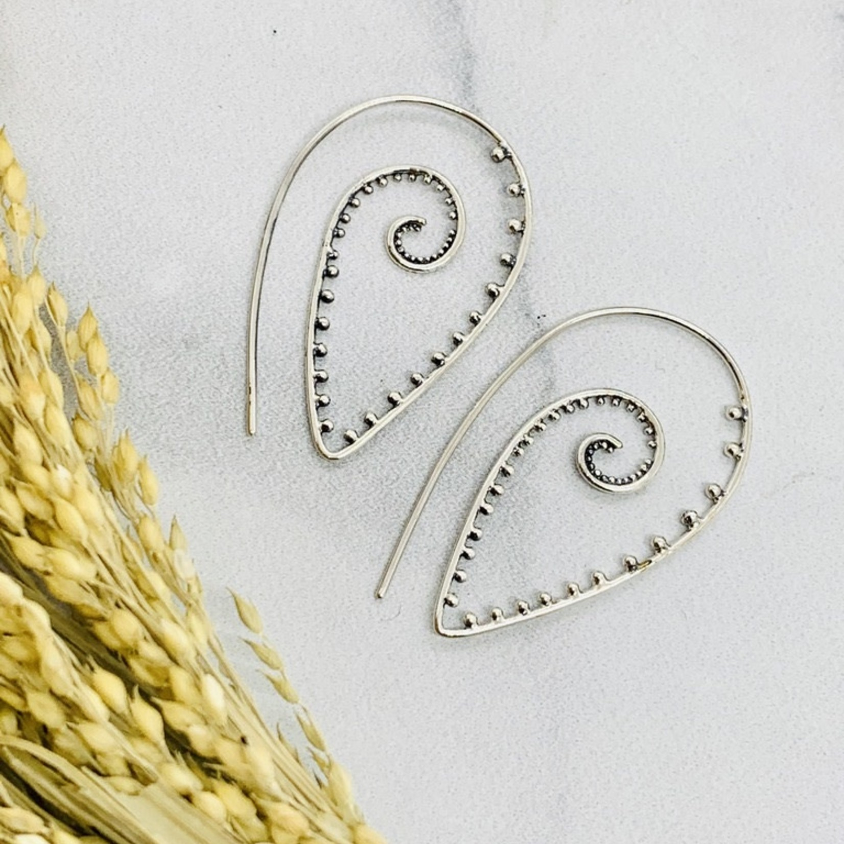 Nina Designs Silver Pointed Spiral Earring with Granulation