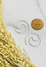 Nina Designs Silver Open Wire Wave Hoop Earrings, 22x20mm