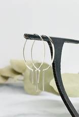 Nina Designs Silver Bulb Earring with Vertical Bars, 40x26mm