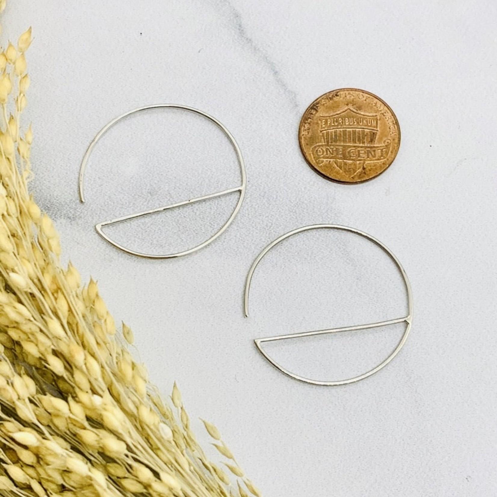 Nina Designs Silver Hoop Wire Horizon Line Earrings, 30x30mm