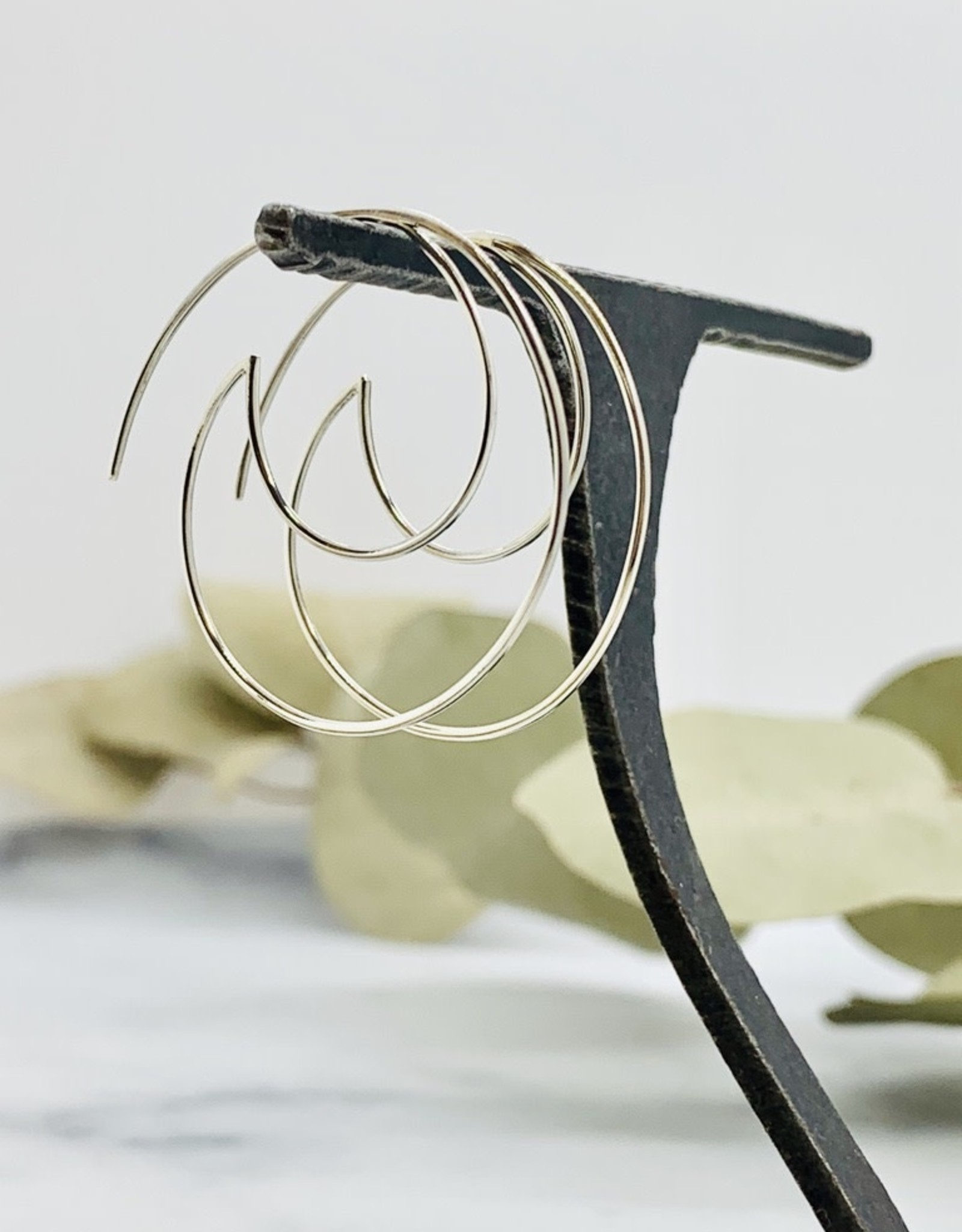 Nina Designs Silver Open Wire Wave Hoop Earrings 34x35mm