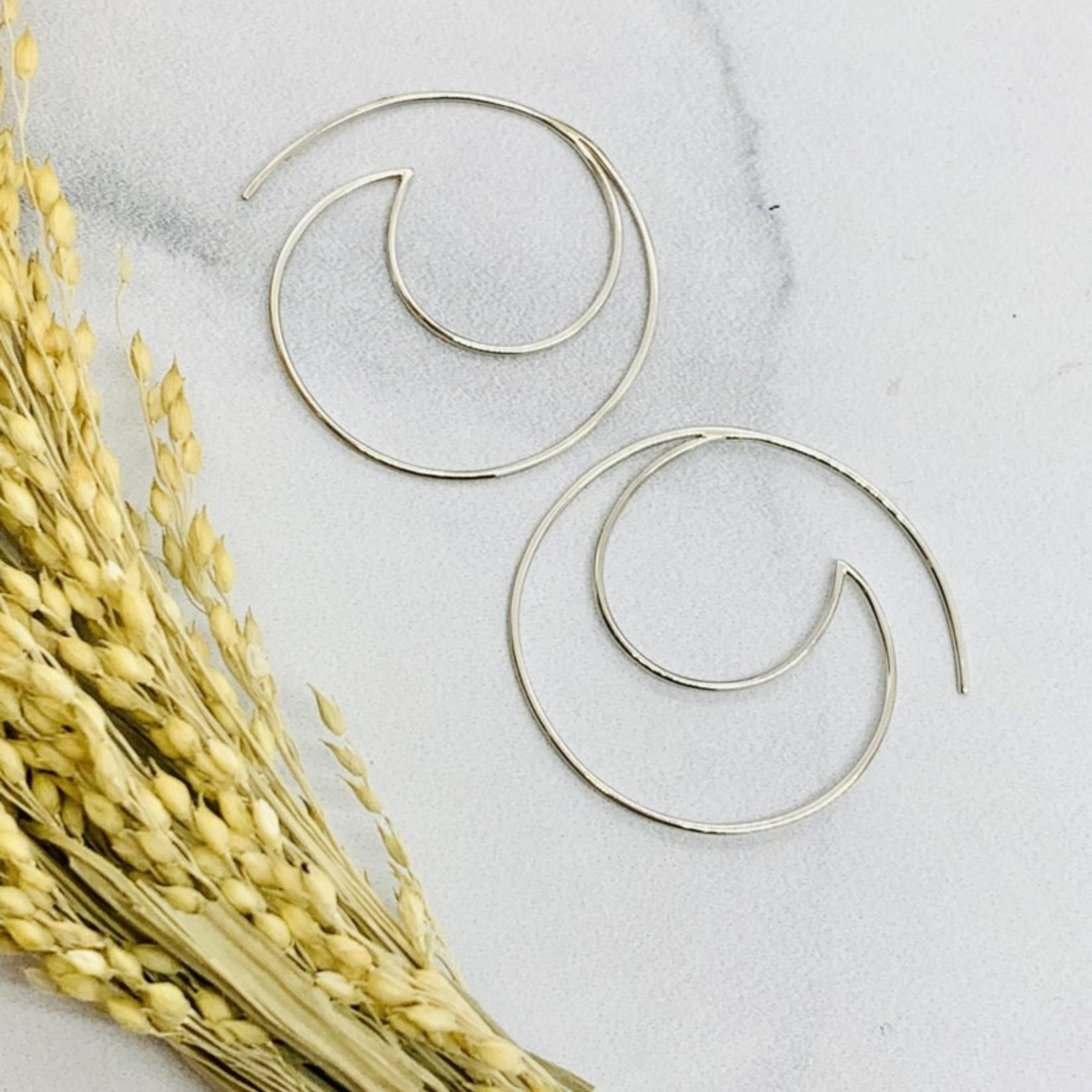 Nina Designs Silver Open Wire Wave Hoop Earrings 34x35mm