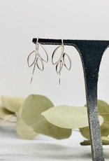 Nina Designs Silver Ear Hook with Marquis Leaves, 32x13mm