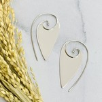 Nina Designs Silver Pointed Spiral Earrings, 43x25mm