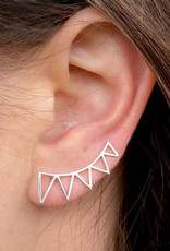 Nina Designs Silver Triangle Spike Ear Climbers, 23x9mm