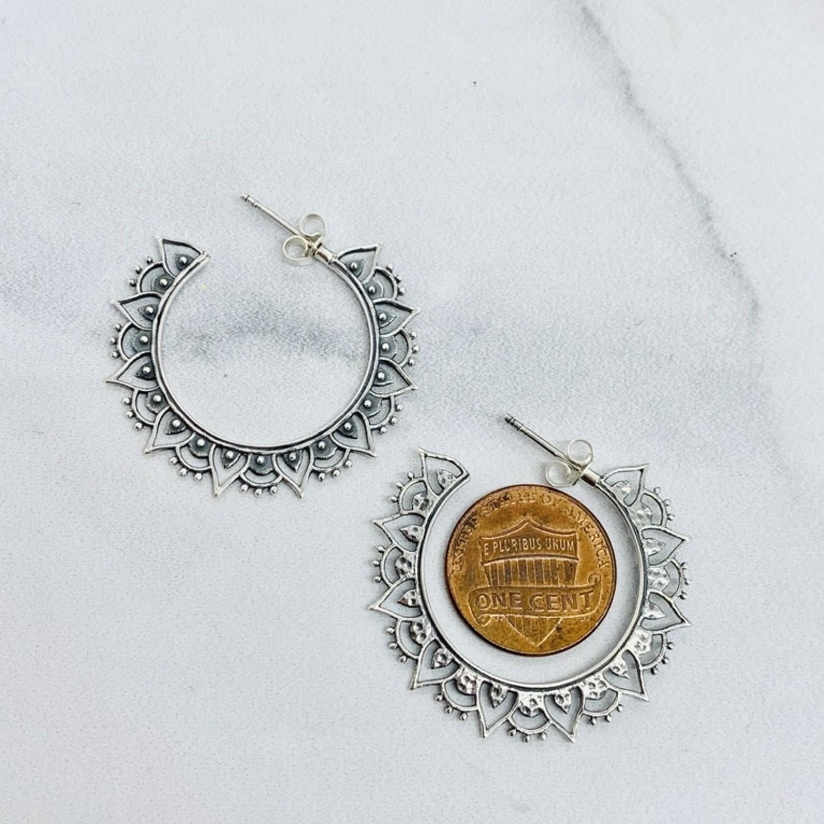 Nina Designs Silver Hoop Earrings with Mandala Petals 36x36mm