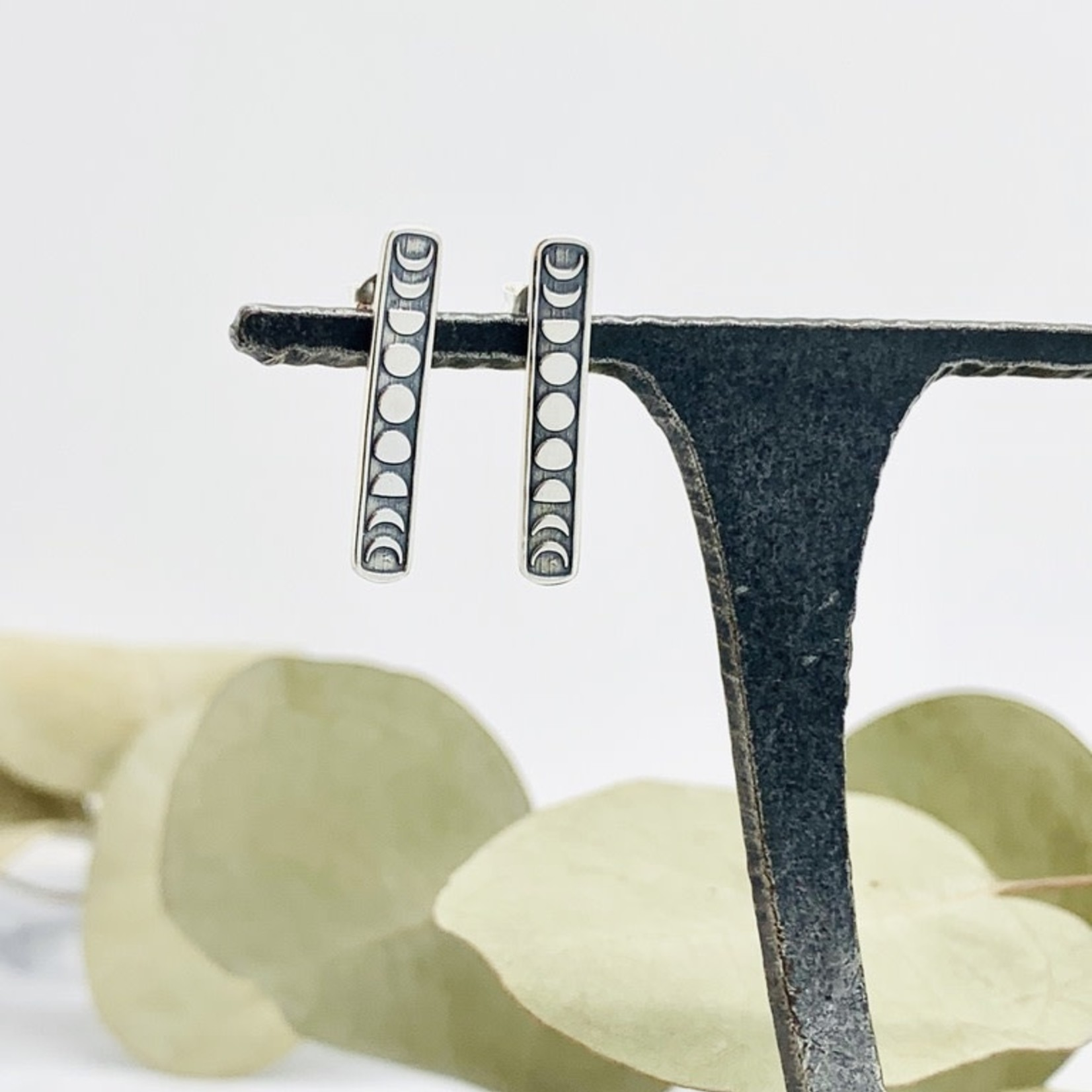 Nina Designs Vertical Moon Phase Earrings, 23x4mm