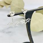 Nina Designs Silver Lotus Ear Jacket Earrings, 24x19mm
