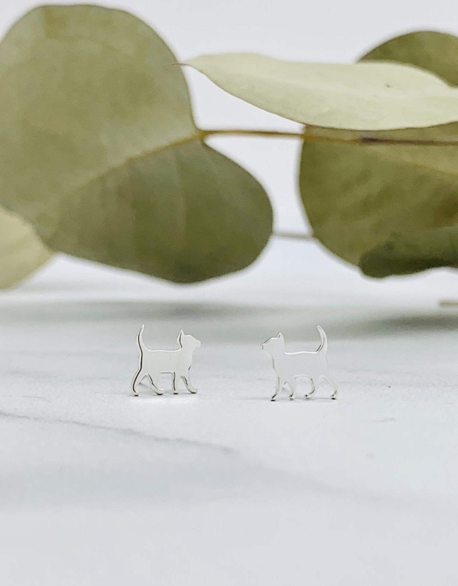 Nina Designs Silver Curious Kitten Post Earrings, 8x9mm