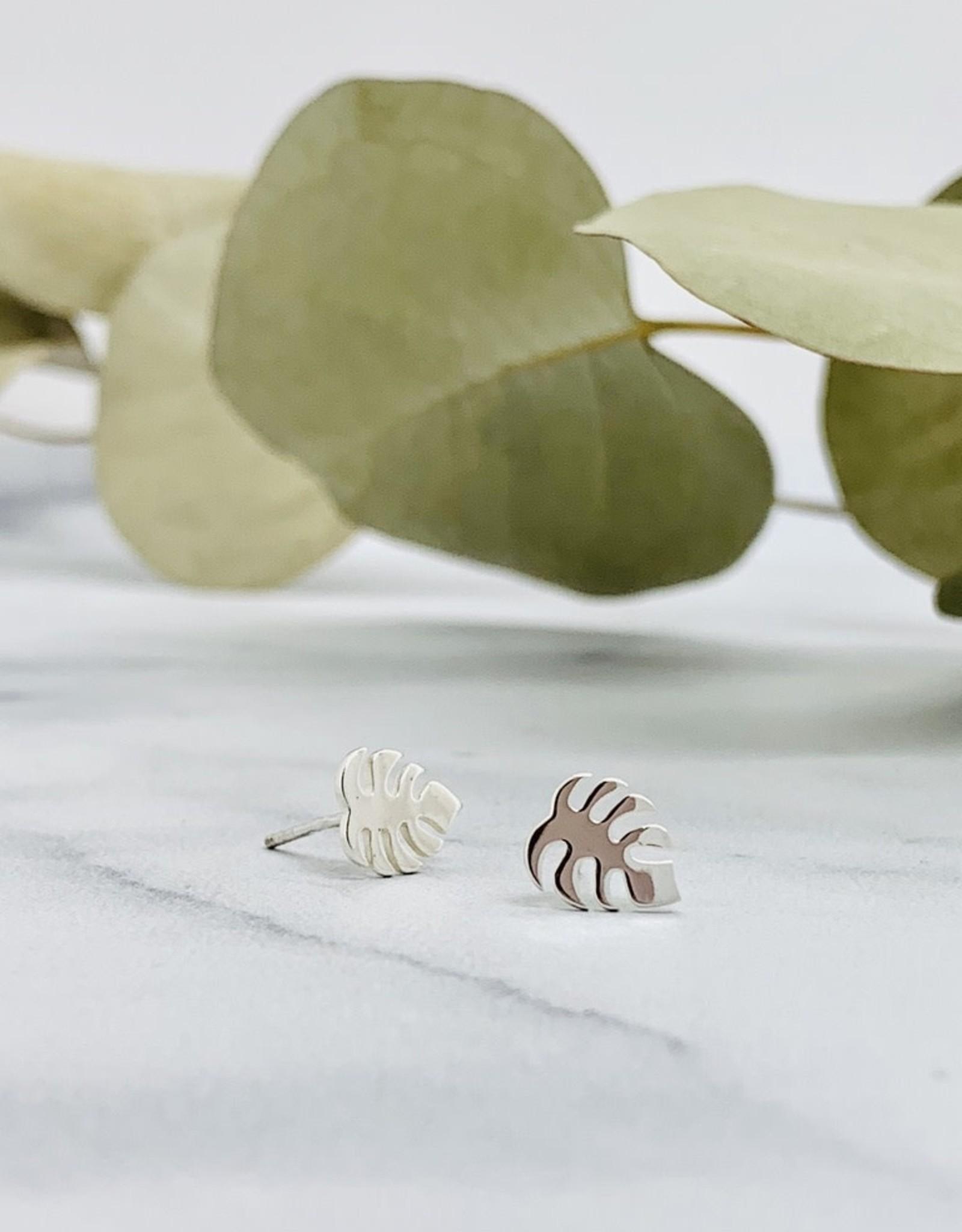 Nina Designs Monstera Plant Stud Earrings