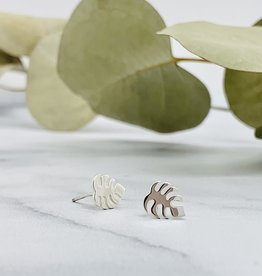 Nina Designs Monstera Plant Stud Earrings