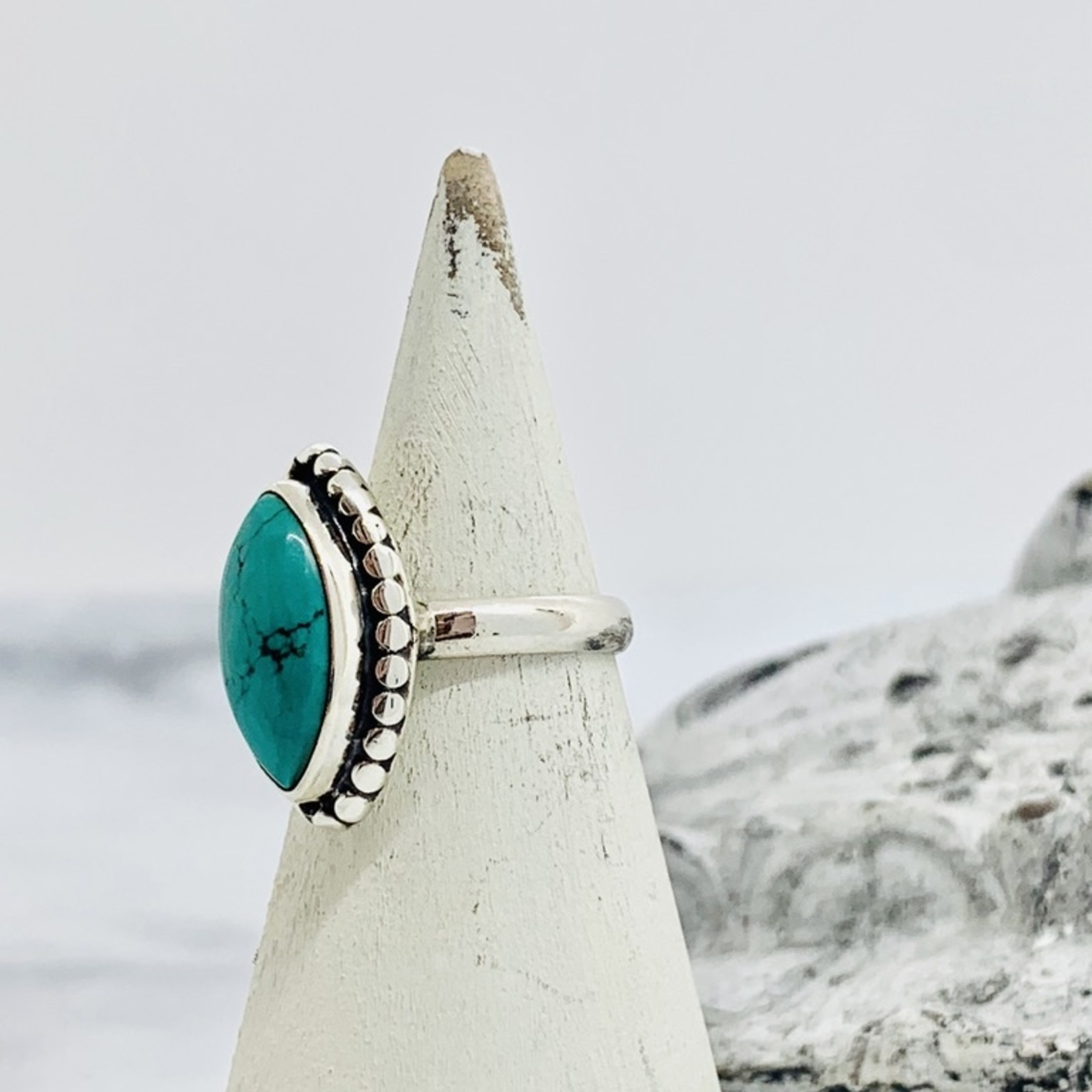 Silver Framed Large Turquoise Ring