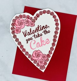 A.FAVORITE Valentine Heart Shaped Cake Letterpress Card