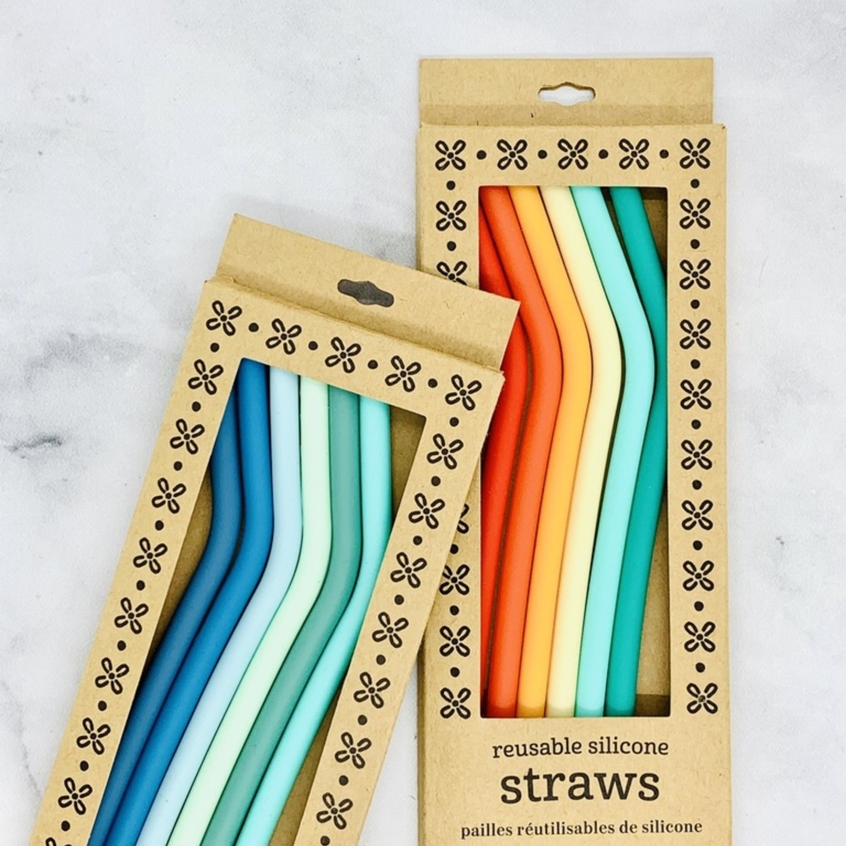 Set of 6 Rainbow Silicone Straw Set
