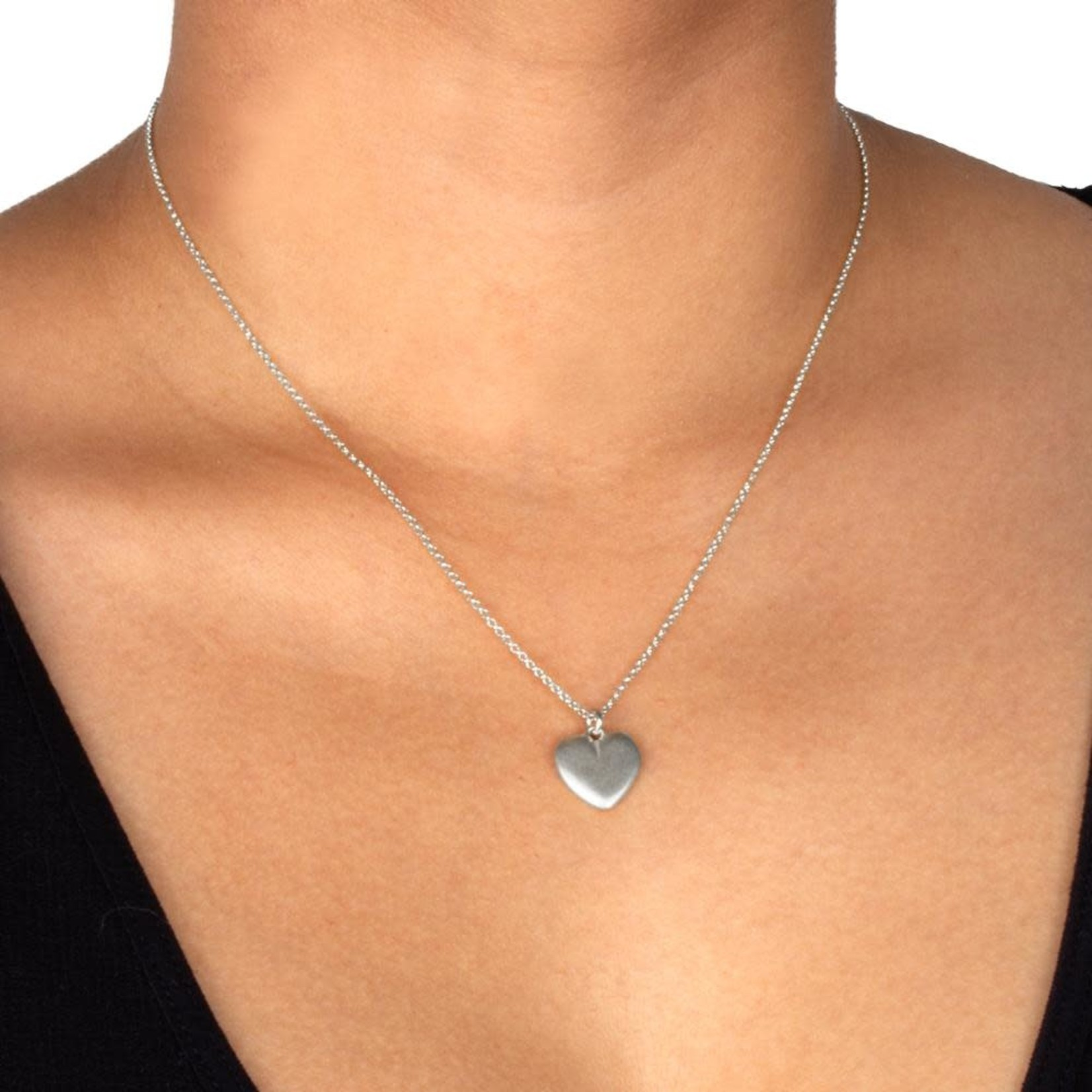 Sterling Silver Large Heart Necklace, 16 +2""