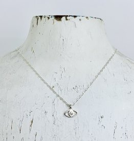 "Locally Handmade Evil Eye White Topaz 16"" Necklace"