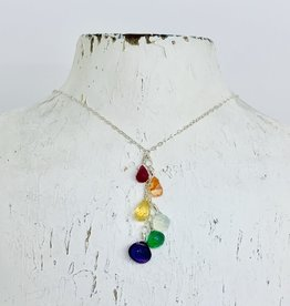 Handmade Sterling Silver Necklace with Rainbow Cascade, 18""