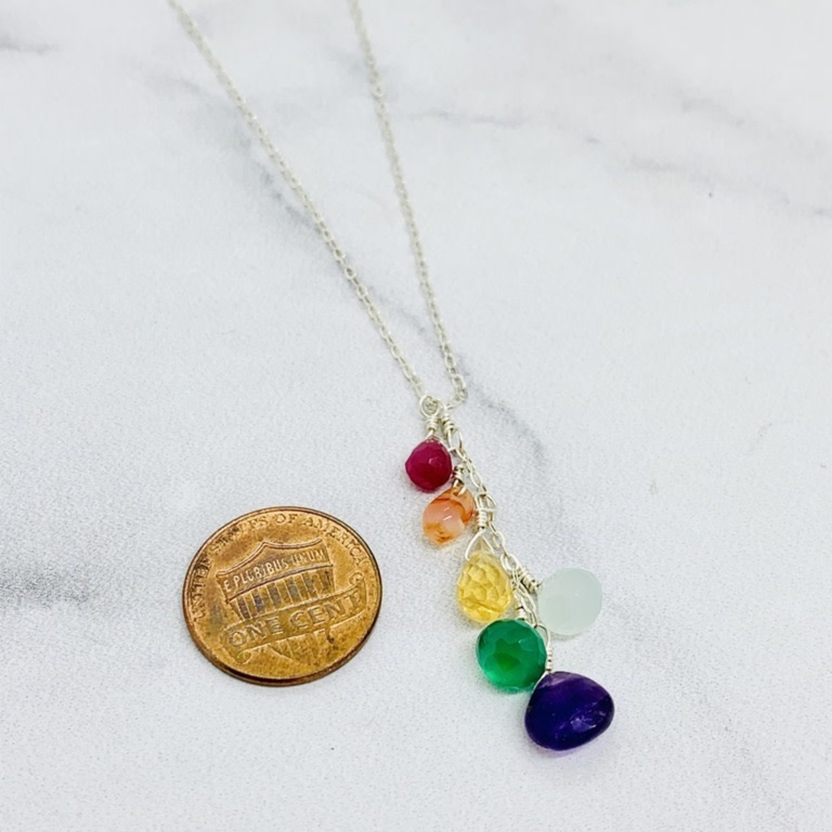 """Handmade Sterling Silver Necklace with Rainbow Cascade, 18"""""""