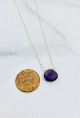 Locally Handmade Amethyst and Sterling Silver Simple Gemstone Necklace