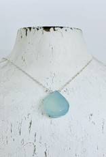 Locally Handmade Chalcedony and Sterling Silver Simple Gemstone Necklace