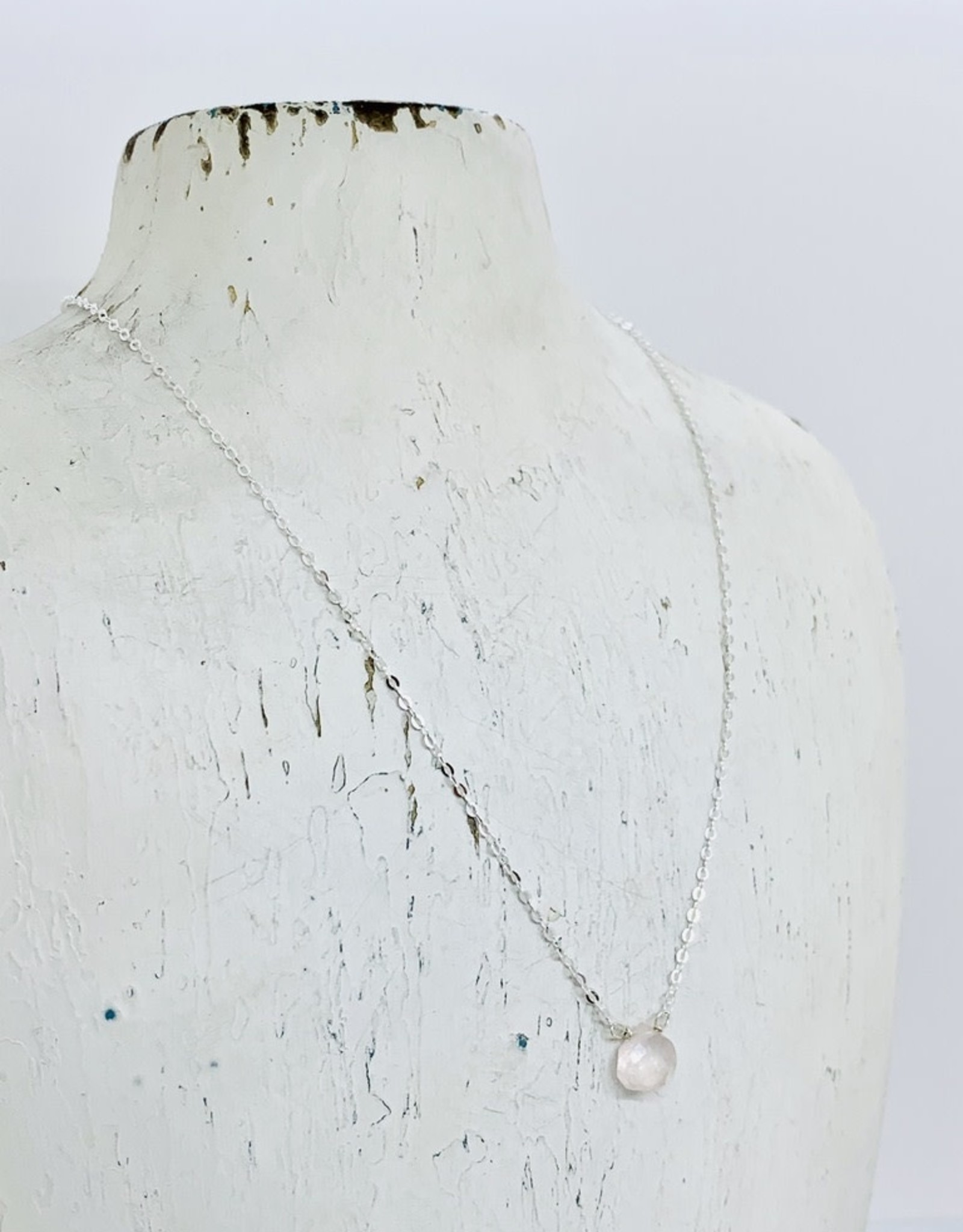 Locally Handmade Rose Quartz and Sterling Silver Simple Gemstone Necklace