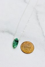 Locally Handmade Emerald and Silver Necklace, 18""