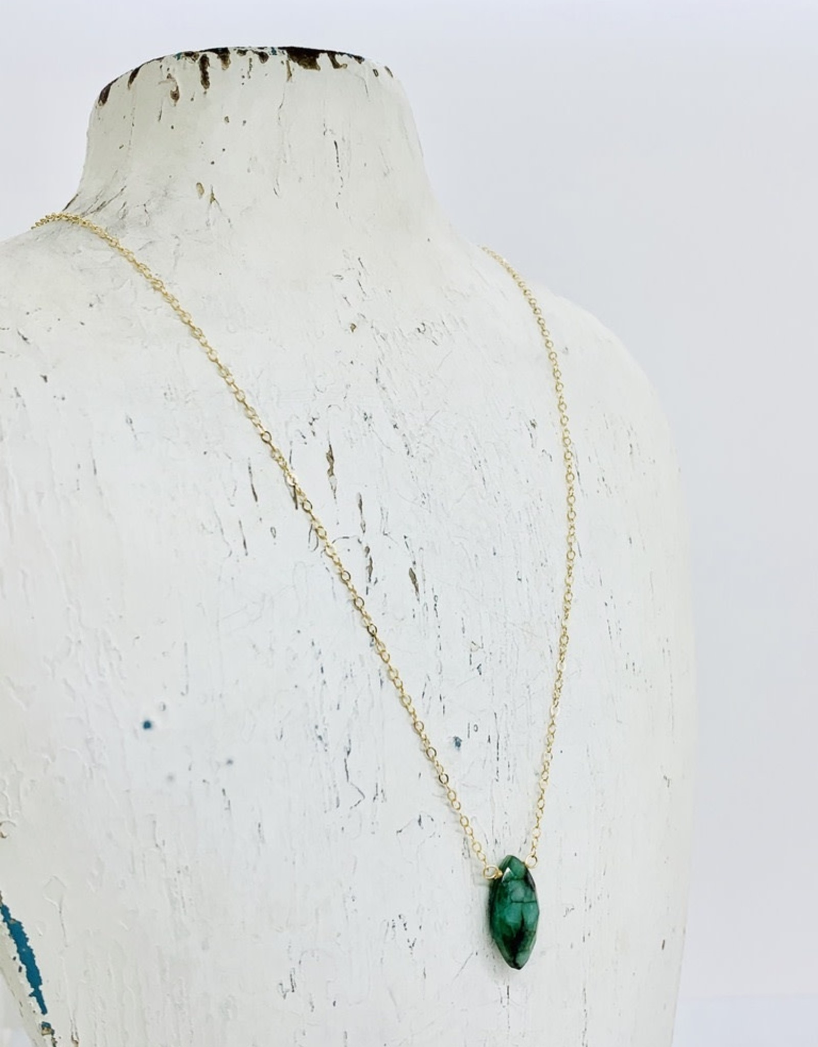 """Locally Handmade Emerald and 14k Goldfill Necklace, 18"""""""