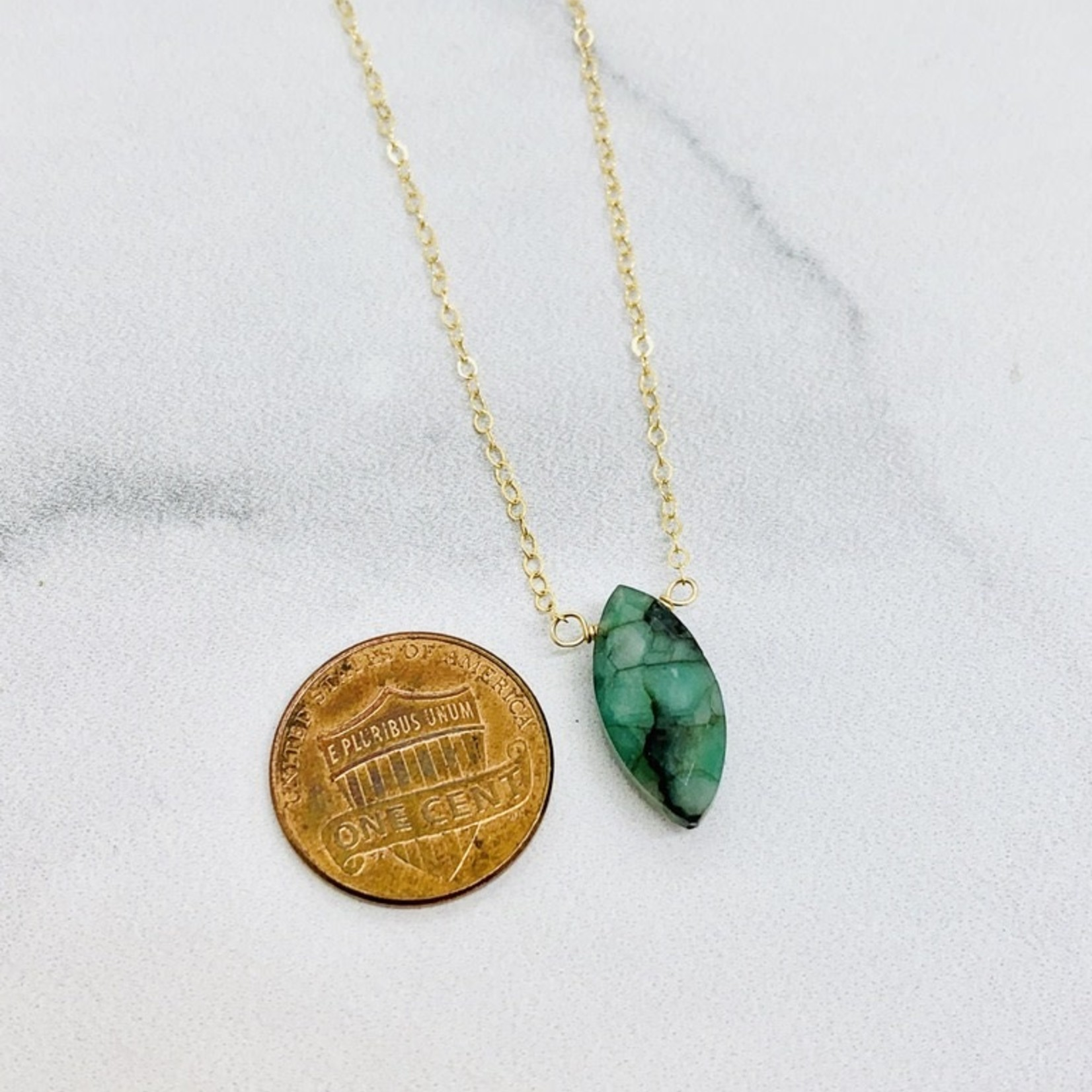 Locally Handmade Emerald and 14k Goldfill Necklace, 18""